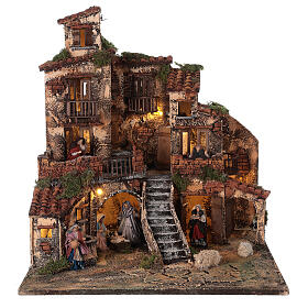 Village crèche napolitaine trois étages éclairage fontaine 45x45x45 cm santons 8 cm s1