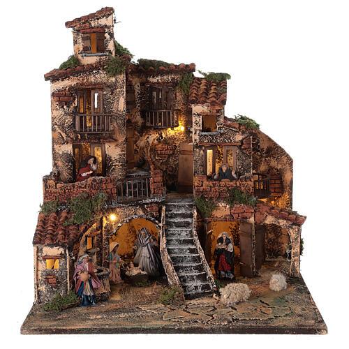 Village crèche napolitaine trois étages éclairage fontaine 45x45x45 cm santons 8 cm 1