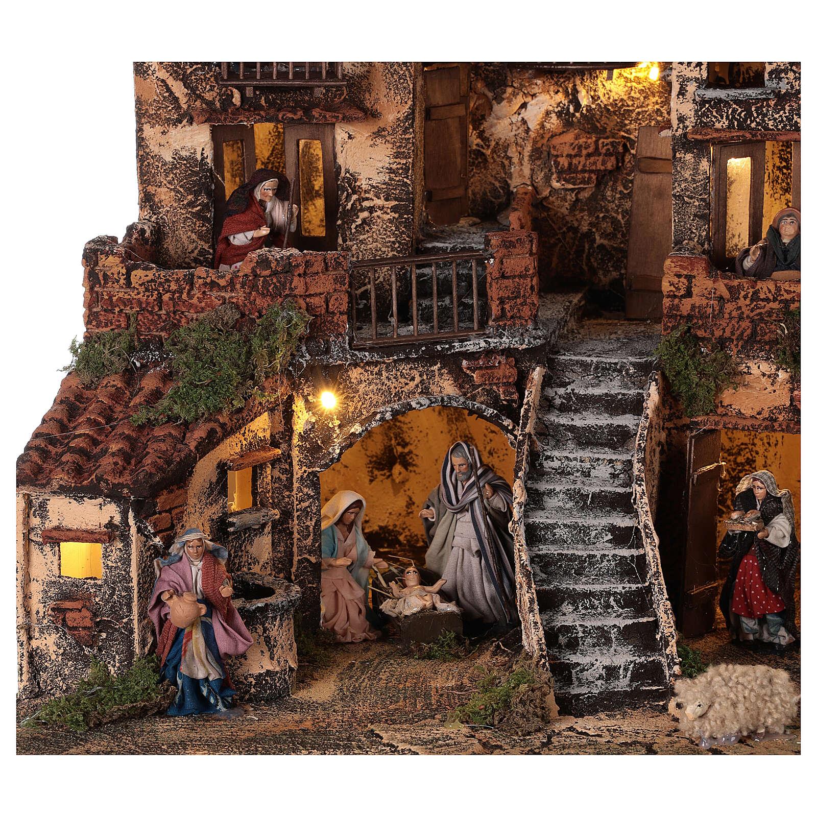 Borgo presepe napoletano tre piani luci fontana 45x45x45 statue 8 cm 4