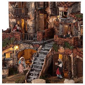 Borgo presepe napoletano tre piani luci fontana 45x45x45 statue 8 cm s2