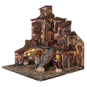Borgo presepe napoletano tre piani luci fontana 45x45x45 statue 8 cm s3