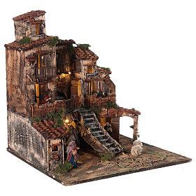 Borgo presepe napoletano tre piani luci fontana 45x45x45 statue 8 cm s5