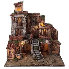 Borgo presepe napoletano tre piani luci fontana 45x45x45 statue 8 cm s6