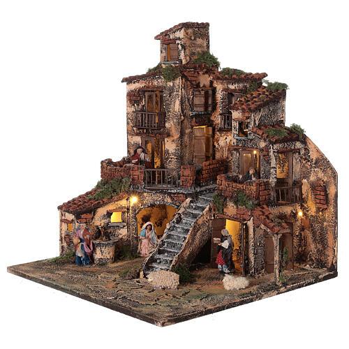 Borgo presepe napoletano tre piani luci fontana 45x45x45 statue 8 cm 3