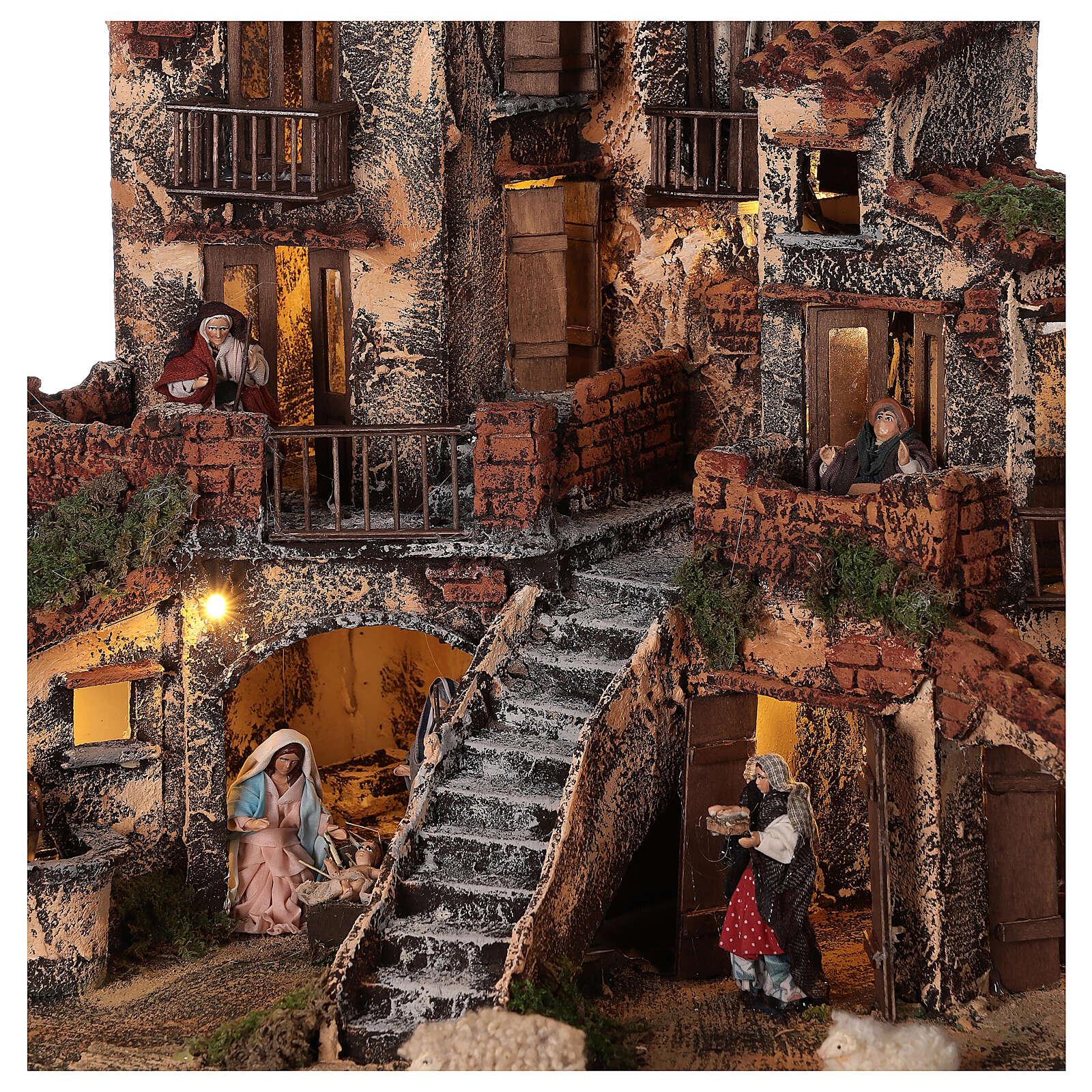 Neapolitan Nativity Scene three levels light fountain 45x45x45 cm for figurines of 8 cm average height 4