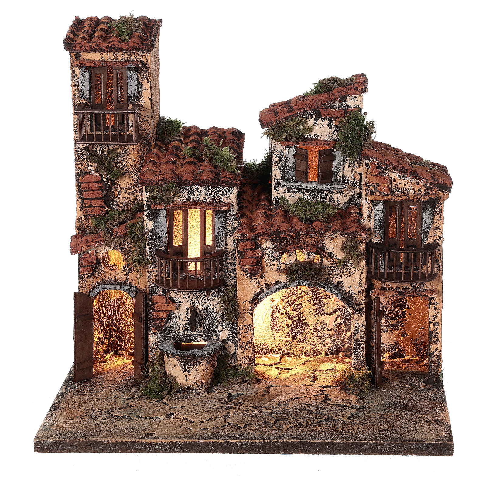 Borgo presepe napoletano completo illuminato fontanella 30x35x25 statue 6 cm  4