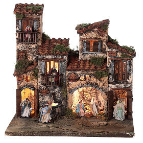 Borgo presepe napoletano completo illuminato fontanella 30x35x25 statue 6 cm  s1