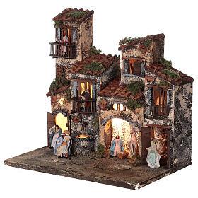 Borgo presepe napoletano completo illuminato fontanella 30x35x25 statue 6 cm  s3
