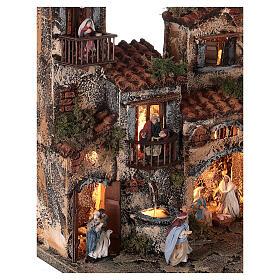 Borgo presepe napoletano completo illuminato fontanella 30x35x25 statue 6 cm  s4