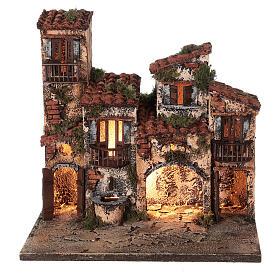 Borgo presepe napoletano completo illuminato fontanella 30x35x25 statue 6 cm  s6