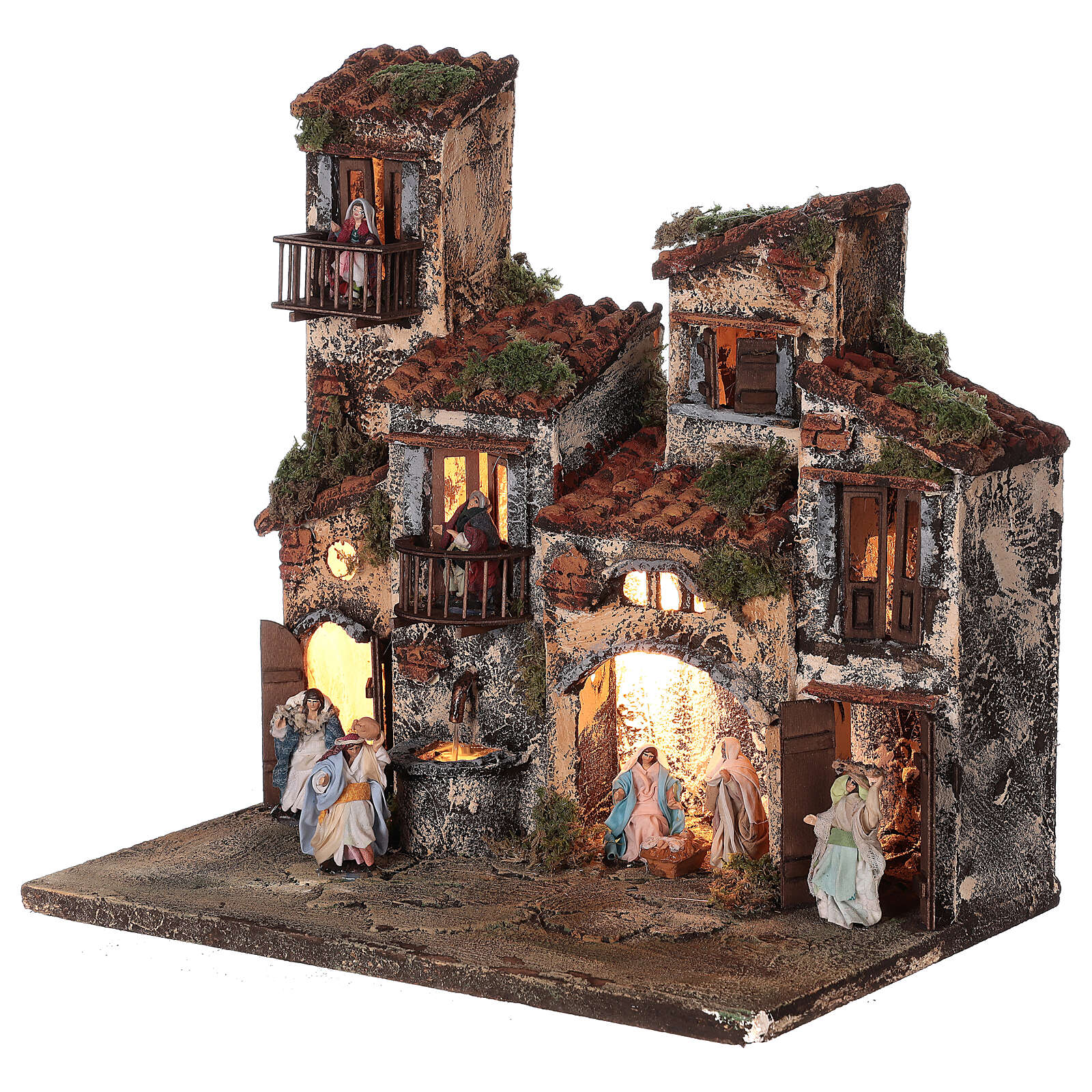Complete setting for Neapolitan Nativity Scene lights and fountain 30x35x25 cm for figurines of 6 cm average height 4