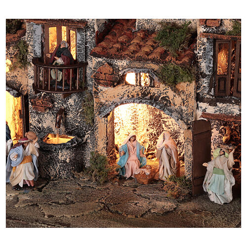 Complete setting for Neapolitan Nativity Scene lights and fountain 30x35x25 cm for figurines of 6 cm average height 2
