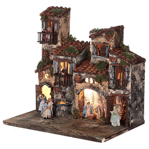 Complete setting for Neapolitan Nativity Scene lights and fountain 30x35x25 cm for figurines of 6 cm average height 3