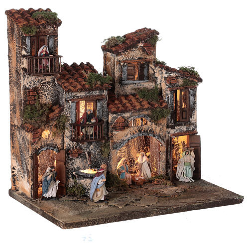 Complete setting for Neapolitan Nativity Scene lights and fountain 30x35x25 cm for figurines of 6 cm average height 5