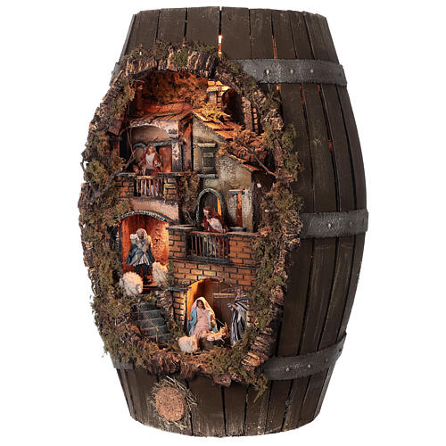 Tonneau crèche complète napolitaine santons terre cuite 8 cm 60x30x25 cm 3