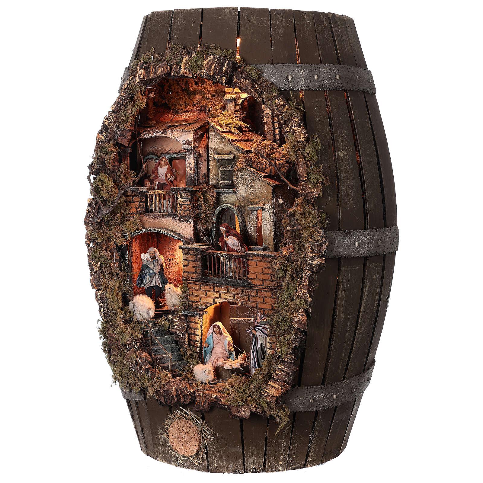 Barrel shaped complete Neapolitan Nativity Scene 60x30x25 cm for figurines of 8 cm average height 4