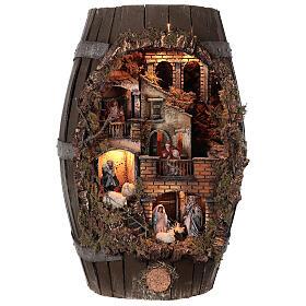 Barrel shaped complete Neapolitan Nativity Scene 60x30x25 cm for figurines of 8 cm average height s1