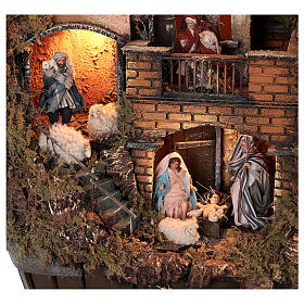Barrel shaped complete Neapolitan Nativity Scene 60x30x25 cm for figurines of 8 cm average height s2