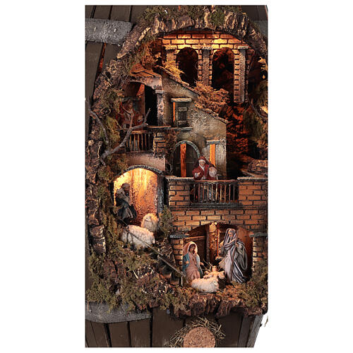 Barrel shaped complete Neapolitan Nativity Scene 60x30x25 cm for figurines of 8 cm average height 6