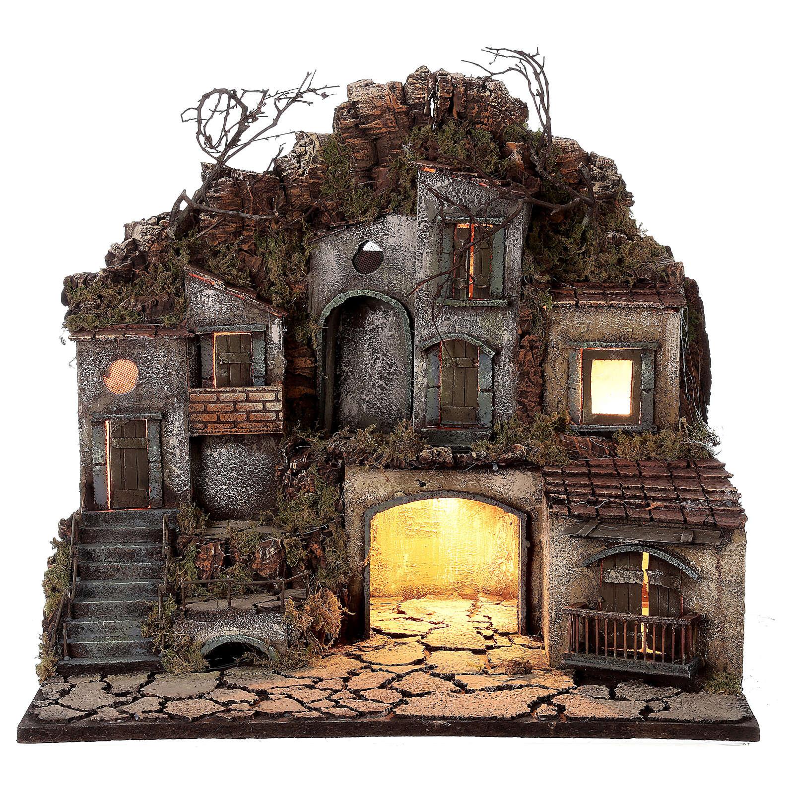 Village place entre les rochers crèche napolitaine éclairage 50x30x40 cm santons 10-12 cm 4