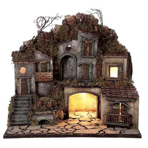 Village with square between the rocks lights 50x30x40 cm Neapolitan Nativity Scene for figurines of 10-12 cm average height 1