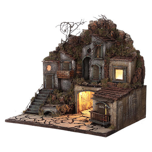 Village with square between the rocks lights 50x30x40 cm Neapolitan Nativity Scene for figurines of 10-12 cm average height 2