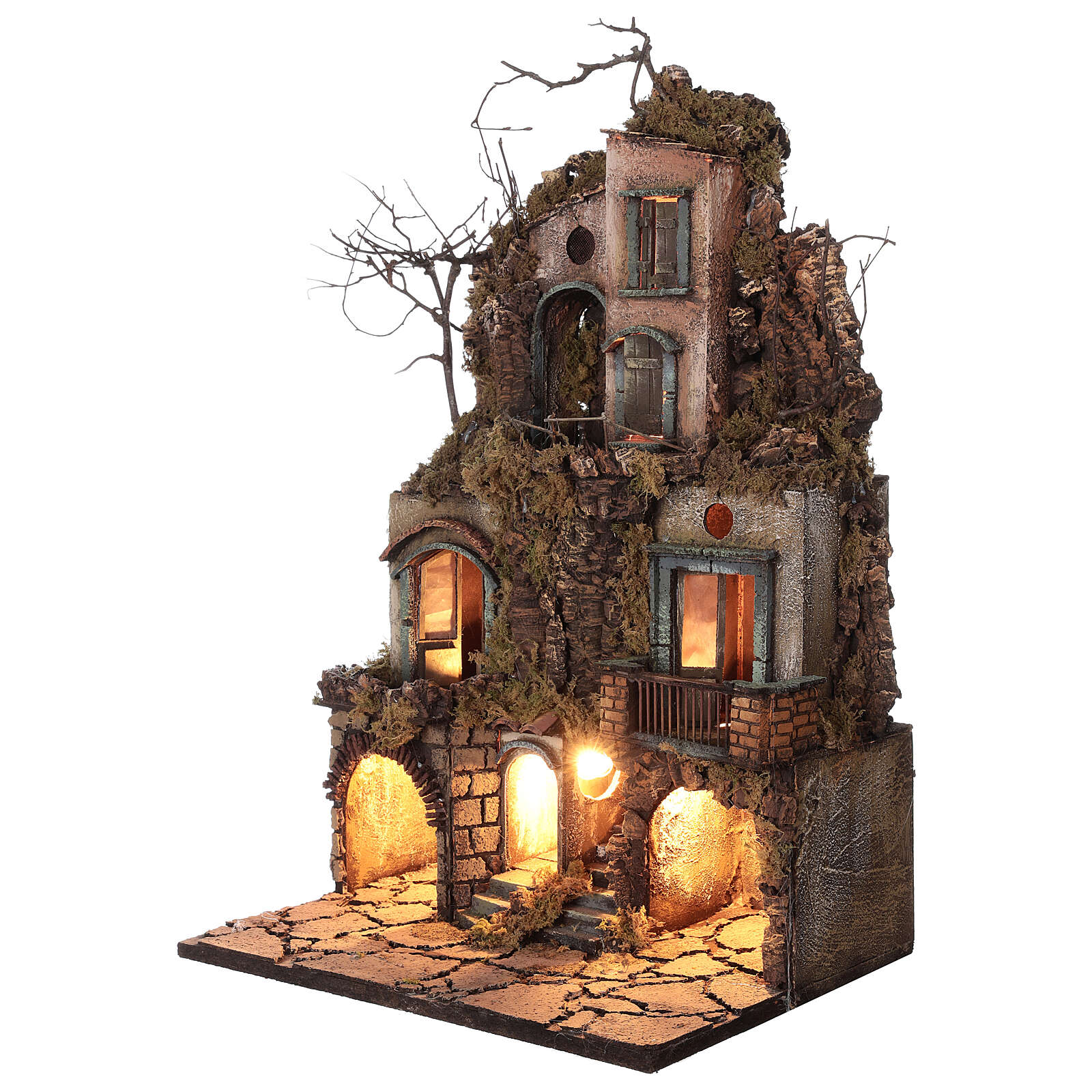 Illuminated village moss and cork 70x40x45 cm Neapolitan Nativity Scene for figurines of 10 cm average height 4