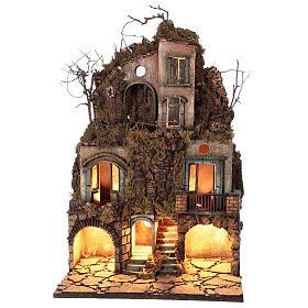 Illuminated village moss and cork 70x40x45 cm Neapolitan Nativity Scene for figurines of 10 cm average height s1