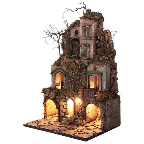 Illuminated village moss and cork 70x40x45 cm Neapolitan Nativity Scene for figurines of 10 cm average height 2