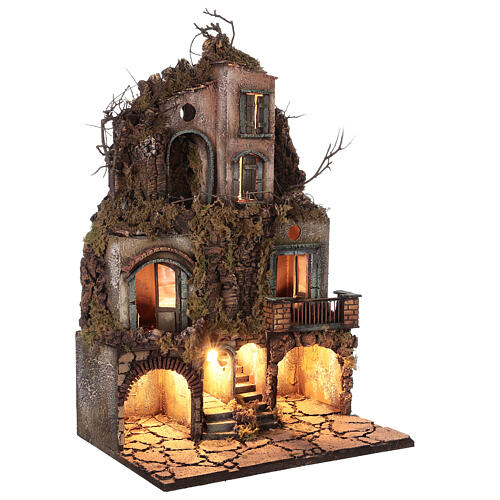 Illuminated village moss and cork 70x40x45 cm Neapolitan Nativity Scene for figurines of 10 cm average height 3