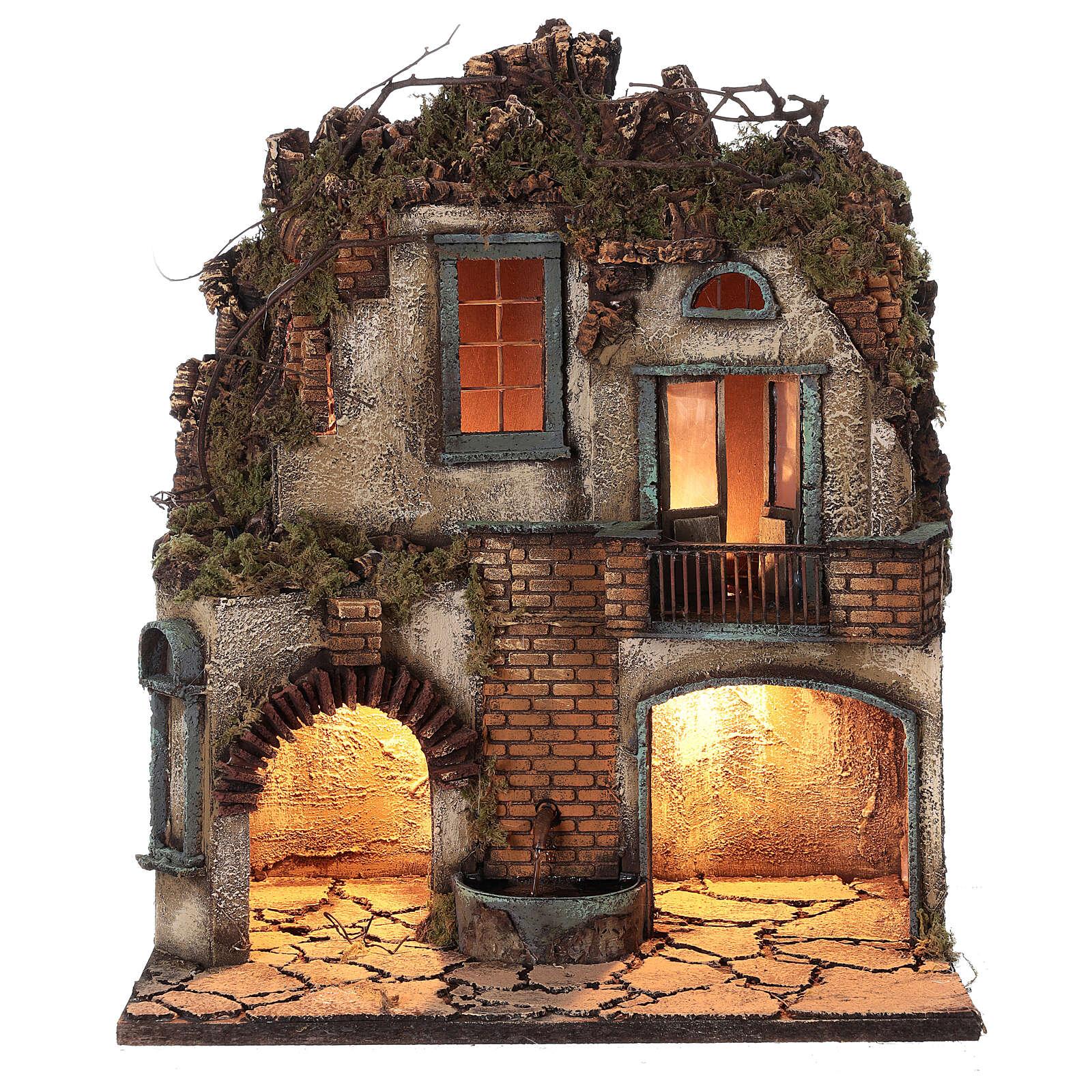 Ambientazione presepe napoletano terrazzo fontana 50x40x30 presepe 8-10 cm 4
