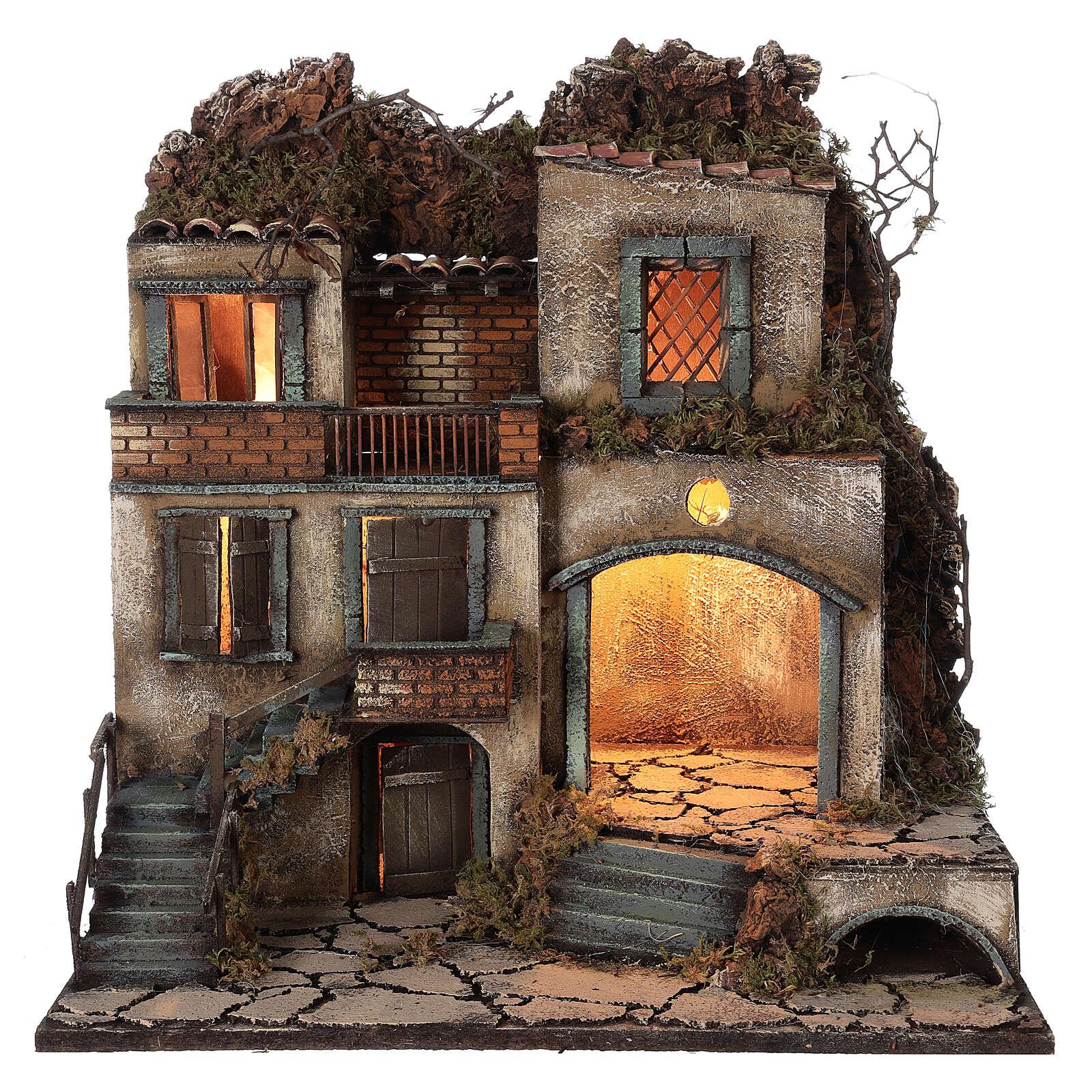 Presepe napoletano borgo illuminato 50x50x40 cm per statue 8-10 cm 4