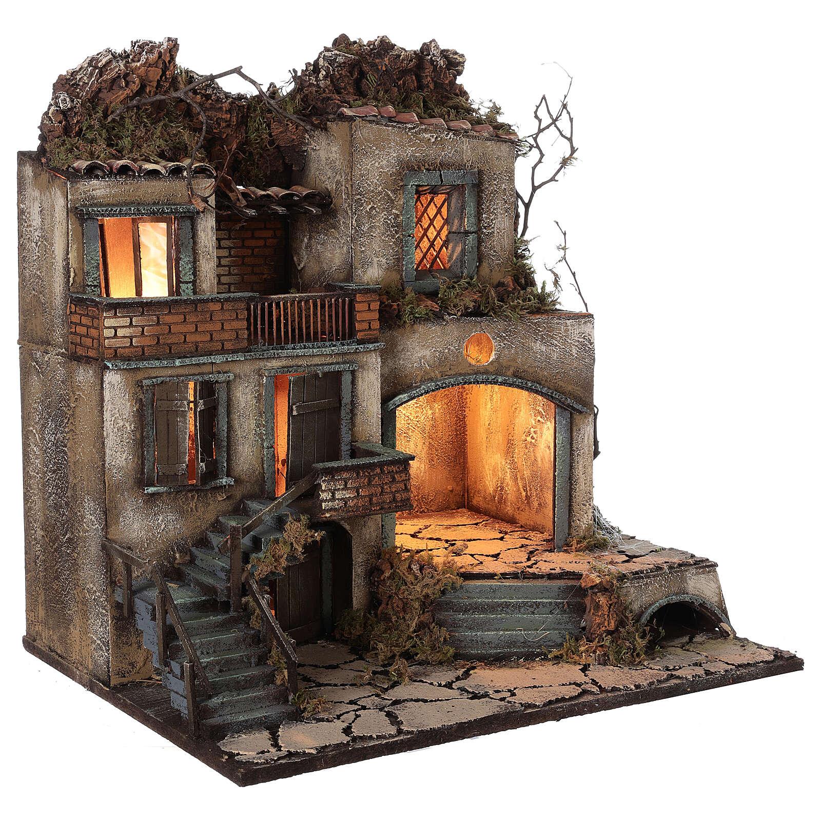 Presépio napolitano aldeia iluminada para figuras de altura média 8-10 cm, medidas: 50x50x40 cm 4