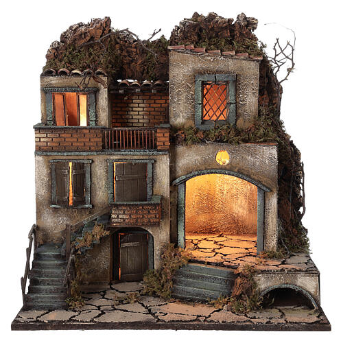 Presépio napolitano aldeia iluminada para figuras de altura média 8-10 cm, medidas: 50x50x40 cm 1