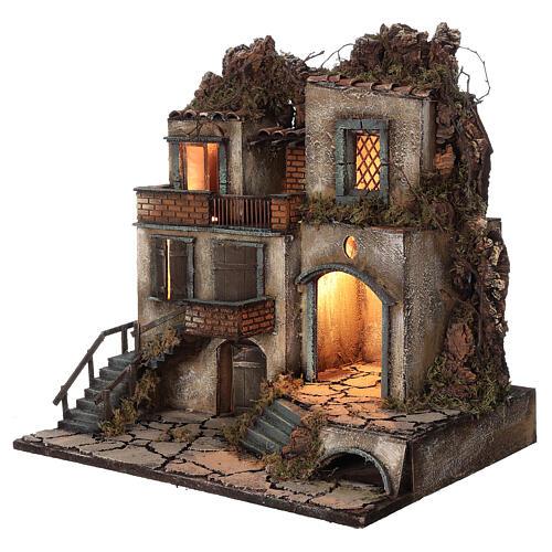 Presépio napolitano aldeia iluminada para figuras de altura média 8-10 cm, medidas: 50x50x40 cm 2
