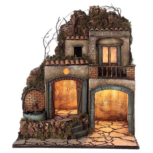 Neapolitan Nativity Scene village illuminated porches fountain 60x50x40 cm for figurines of 10-12 cm average height 1