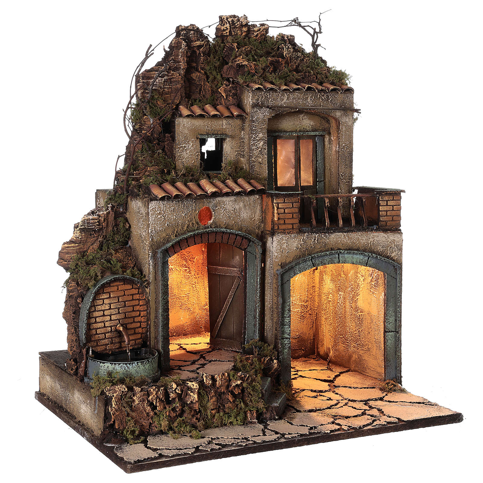 Village crèche Naples porches éclairés fontaine 60x50x40 cm crèche 10-12 cm 4
