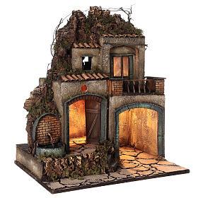 Village crèche Naples porches éclairés fontaine 60x50x40 cm crèche 10-12 cm s4