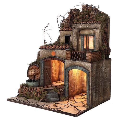 Village crèche Naples porches éclairés fontaine 60x50x40 cm crèche 10-12 cm 3