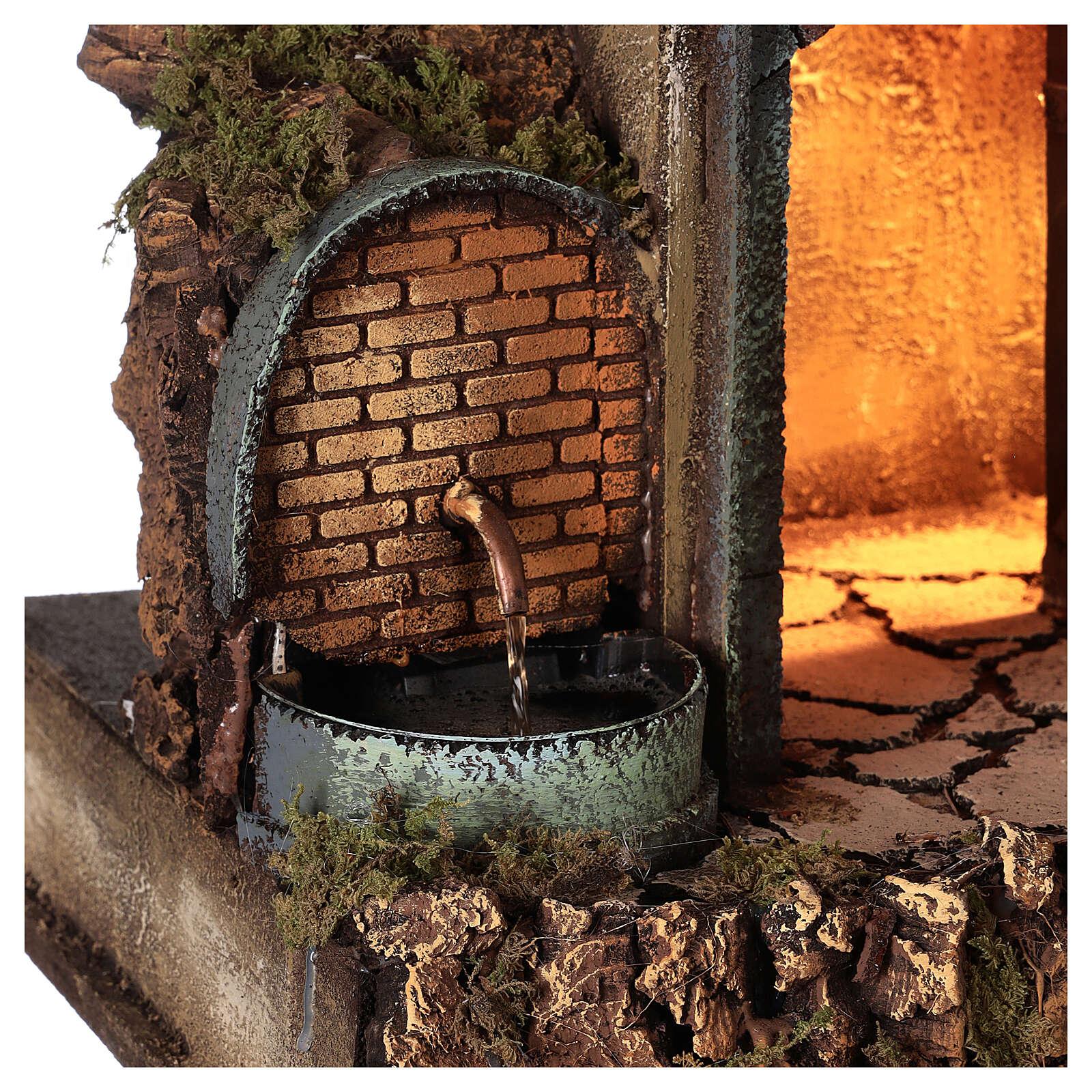 Neapolitan Nativity Scene village illuminated porches fountain 60x50x40 cm for figurines of 10-12 cm average height 4