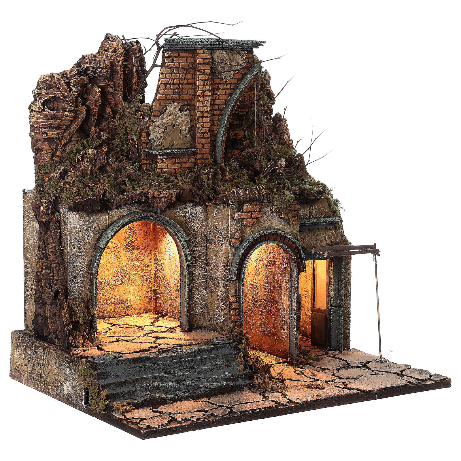 Village crèche napolitaine arc en ruine lumières 60x50x40 cm pour santons 10 cm 4