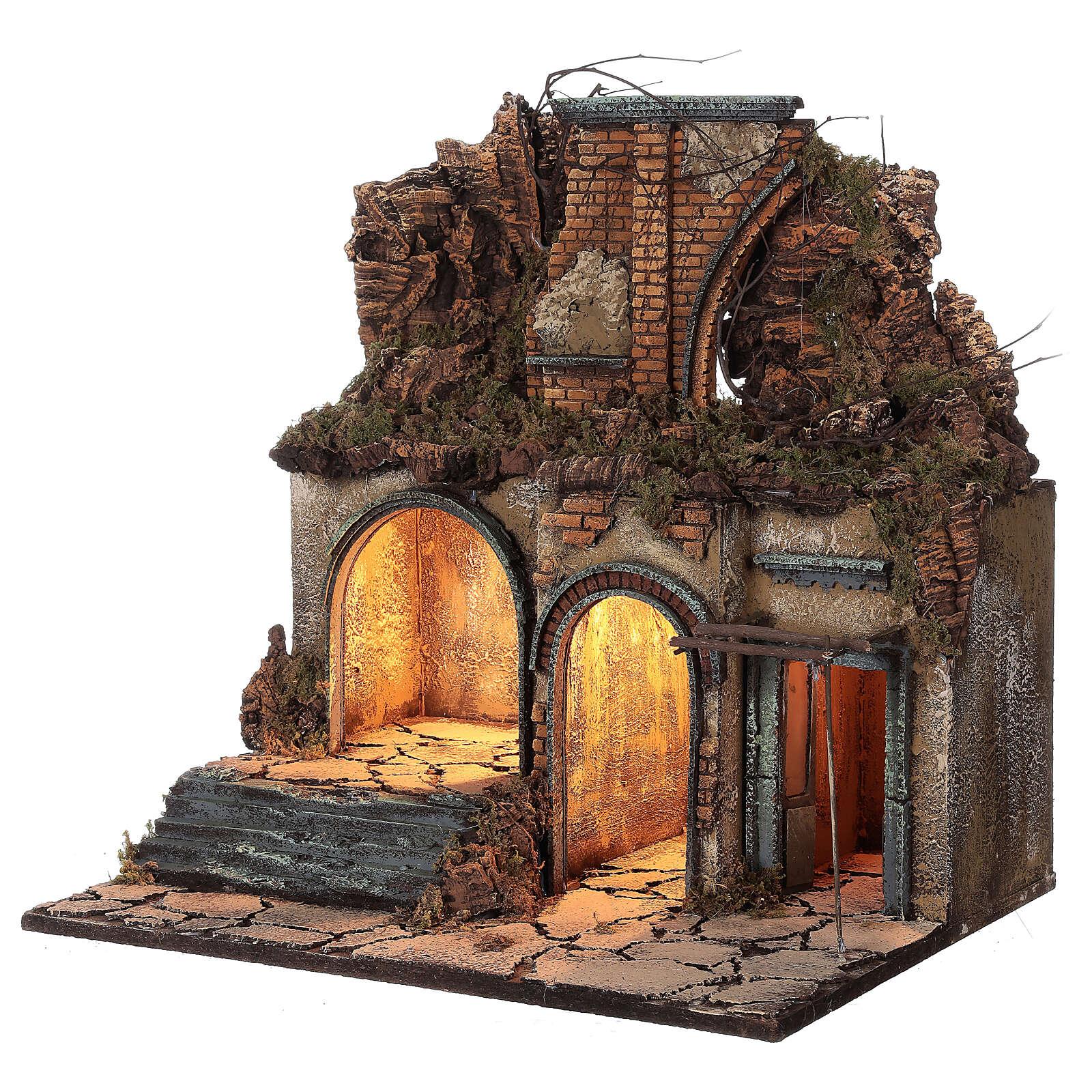Aldeia iluminada presépio napolitano ruínas de arco, para presépio com figuras de altura média 10 cm, medidas: 60x50x40 cm 4
