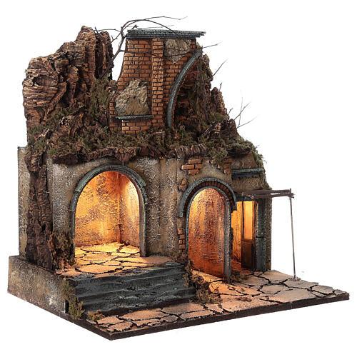 Aldeia iluminada presépio napolitano ruínas de arco, para presépio com figuras de altura média 10 cm, medidas: 60x50x40 cm 3
