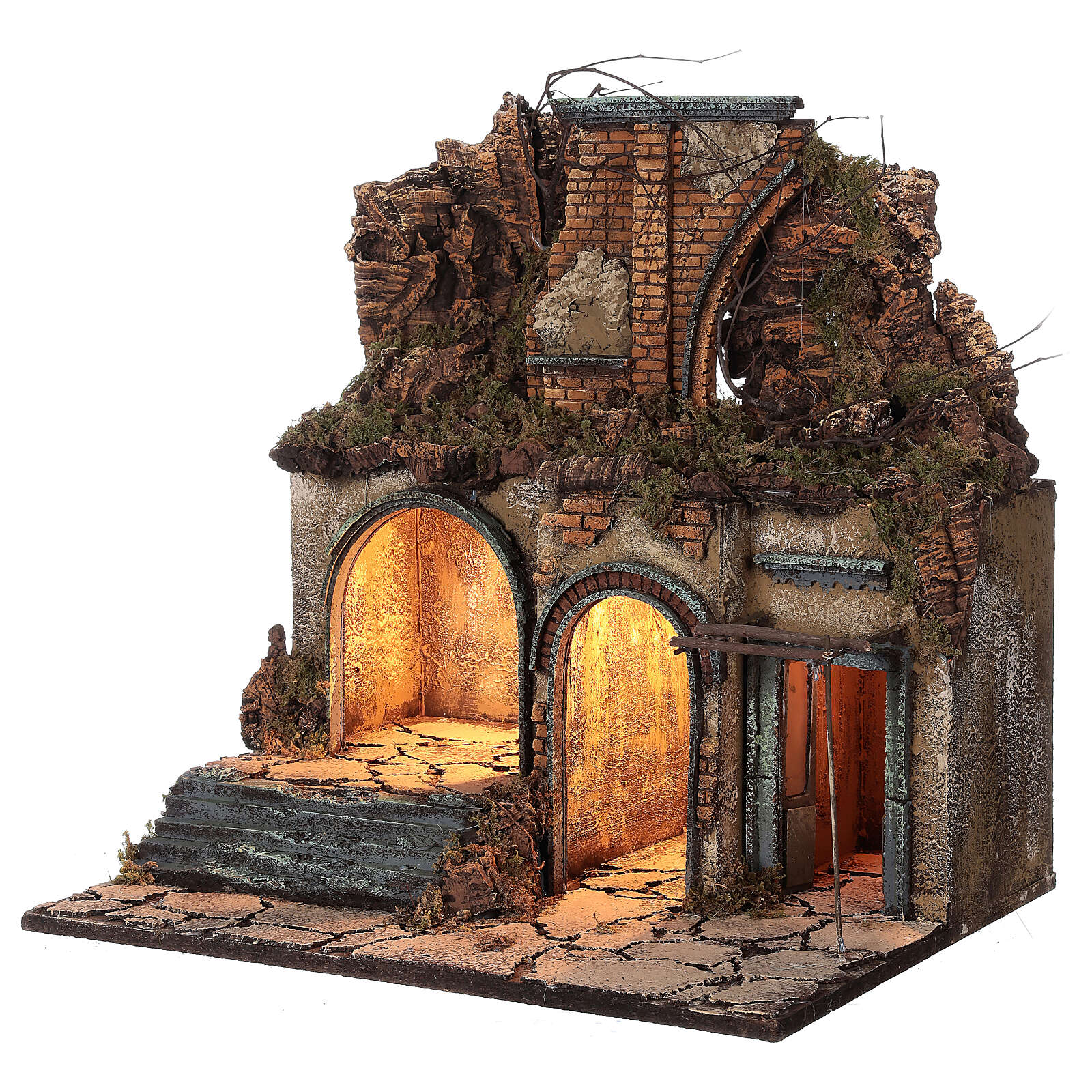 Neapolitan Nativity Scene village ruined arch lights 60x50x40 cm for figurines of 10 cm average height 4