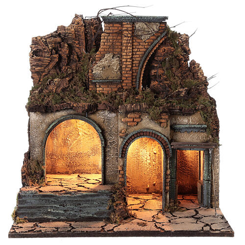 Neapolitan Nativity Scene village ruined arch lights 60x50x40 cm for figurines of 10 cm average height 1