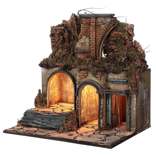 Neapolitan Nativity Scene village ruined arch lights 60x50x40 cm for figurines of 10 cm average height 2