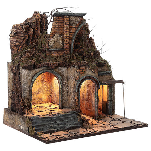 Neapolitan Nativity Scene village ruined arch lights 60x50x40 cm for figurines of 10 cm average height 3