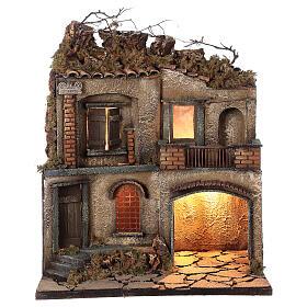 Décor crèche napolitaine terrasse avec séchoir 50x40x30 cm crèche 10 cm s1