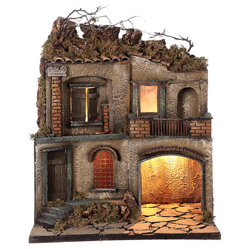 Décor crèche napolitaine terrasse avec séchoir 50x40x30 cm crèche 10 cm 1
