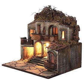 Iluminated village three houses 50x50x40 cm Neapolitan Nativity Scene for figurines of 10-12 cm average height s2